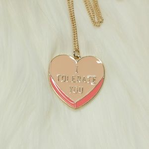 Hot Topic I Tolerate You Heart Necklace